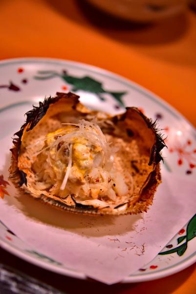毛蟹甲羅味噌焼き