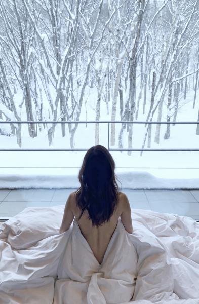 第二天起來,很喜歡第一眼看見的是雪景